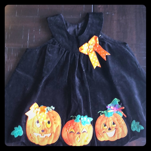Rare Editions Other - Black Corduroy Halloween Dress - 12 months